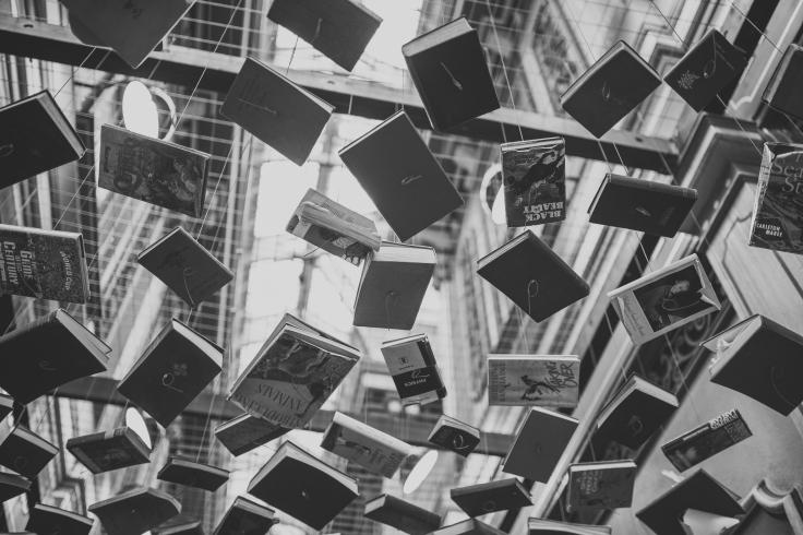 Waterfall of books